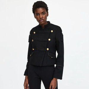 Zara Black Military Jacket with Gold Buttons